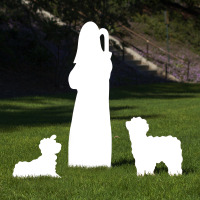Large Silhouette Outdoor Nativity Set – Shepherd & Sheep Scene