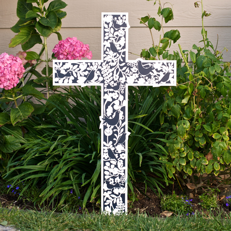 Outdoor Plastic Cross with flower pattern
