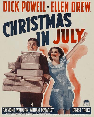 Man and women carrying boxes of gifts in summer