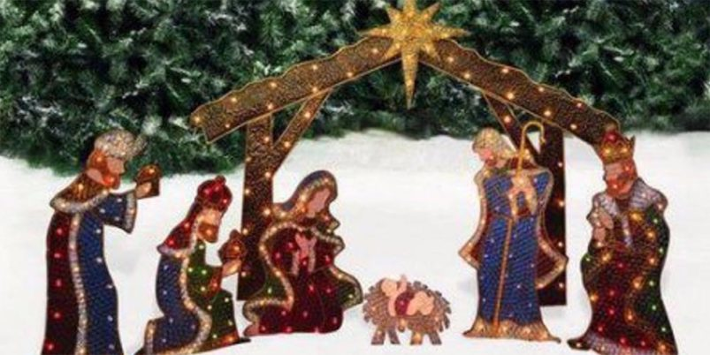 Beautiful Lighted Outdoor Nativity Scenes. Holiday Time Nativity Set With Manger  Light Sculpture