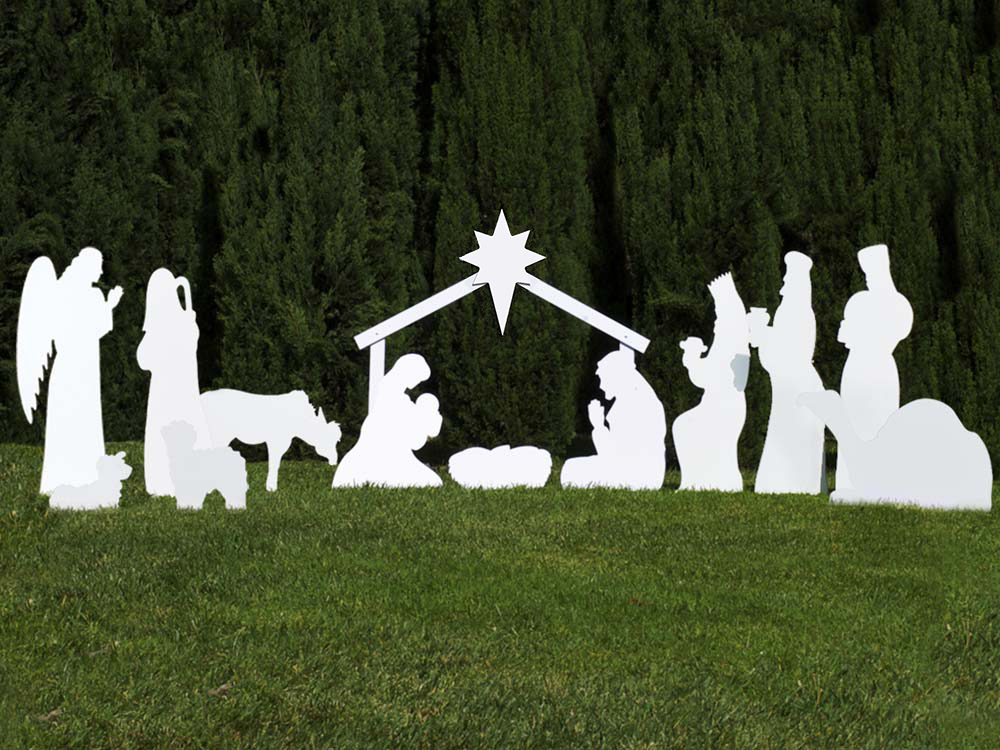 Outdoor Nativity Sets from White PVC Plastic